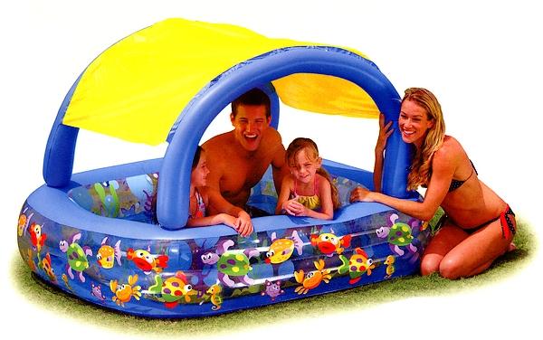 Piscina gonfiabile con cappottina para sole intex for Riparare piscina